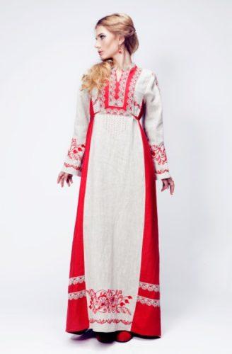 русское платье с мстерской вышивкой