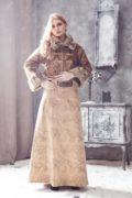 душегрея укороченная с мехом и юбка с вышивкой в русском стиле
