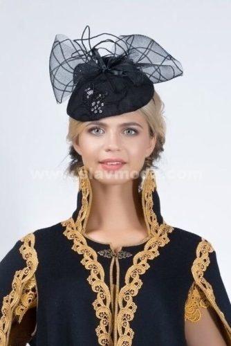 Шляпка в русском стиле из кашемира с вышивкой и отделкой кружевом