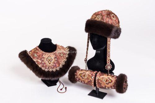 русская шапка женская, оплечье и поручи