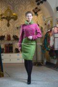 Жакет в  гусарском стиле a la russe и юбка карандаш изо льна модного мятного цвета