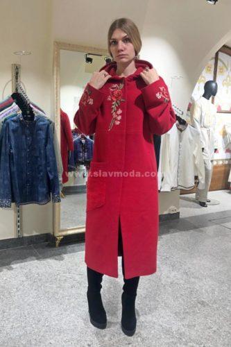 Женское пальто кашемировое с вышивкой и капюшоном