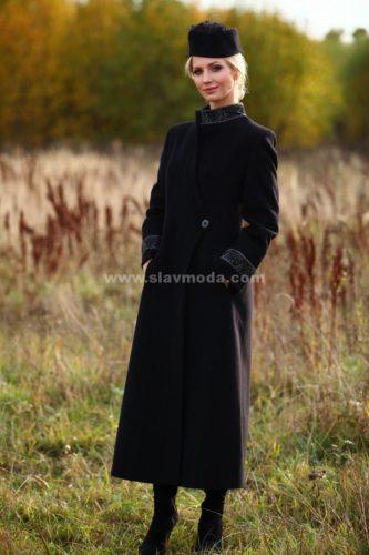 Женское пальто кашемировое с вышивкой