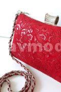 Клатч красный из натуральной кожи
